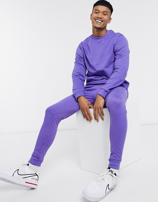 ASOS DESIGN organic tracksuit in purple