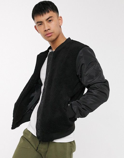 Brave Soul mixed borg bomber jacket in black