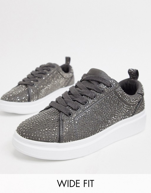 ASOS DESIGN Wide Fit trainers with chunky sole and all over diamante